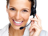 Beautiful young customer service agent with headset