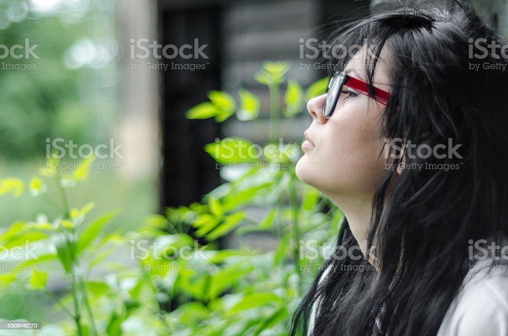 Beautiful young emo girl or teen stock photo