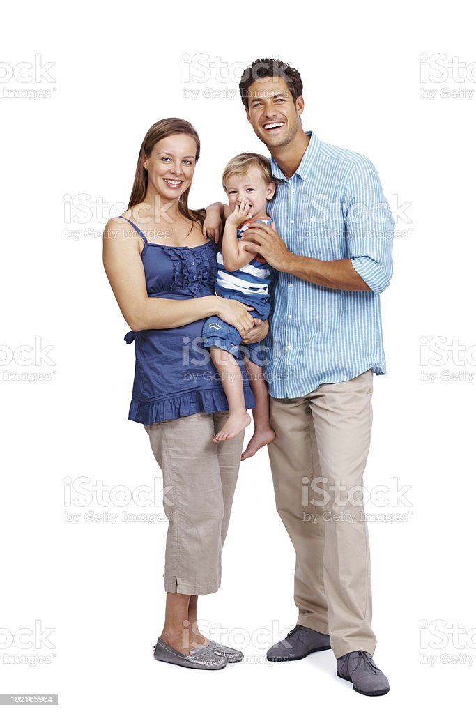 Beautiful, young family portrait on white background royalty-free stock photo