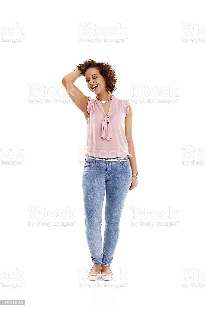 Beautiful young female fashion model on white royalty-free stock photo