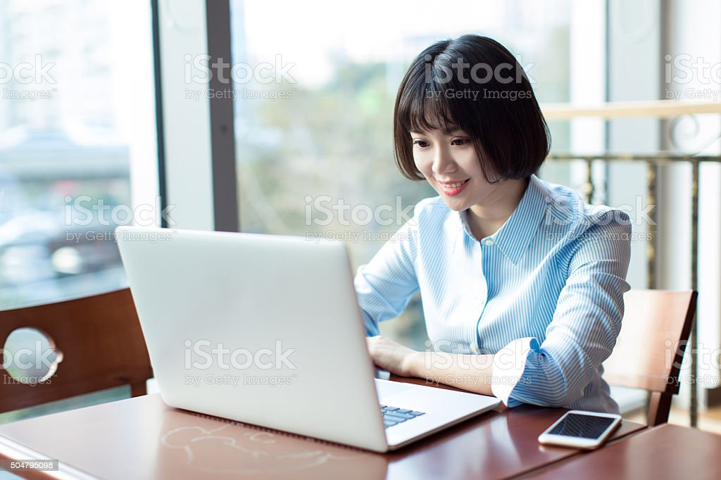 beautiful young female secretary stock photo