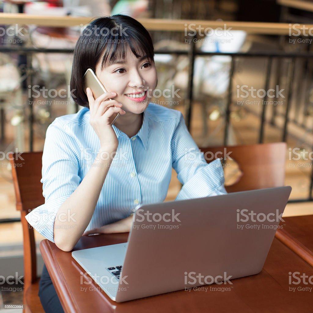 beautiful young female secretary stock photo