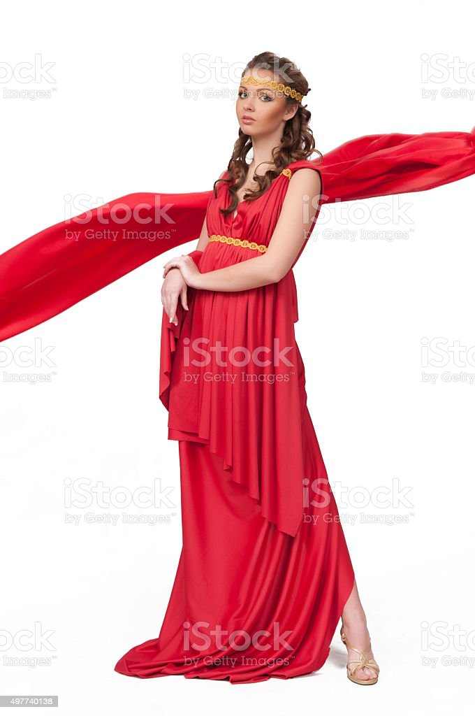 Beautiful young female wearing red dress antique style isolated stock photo