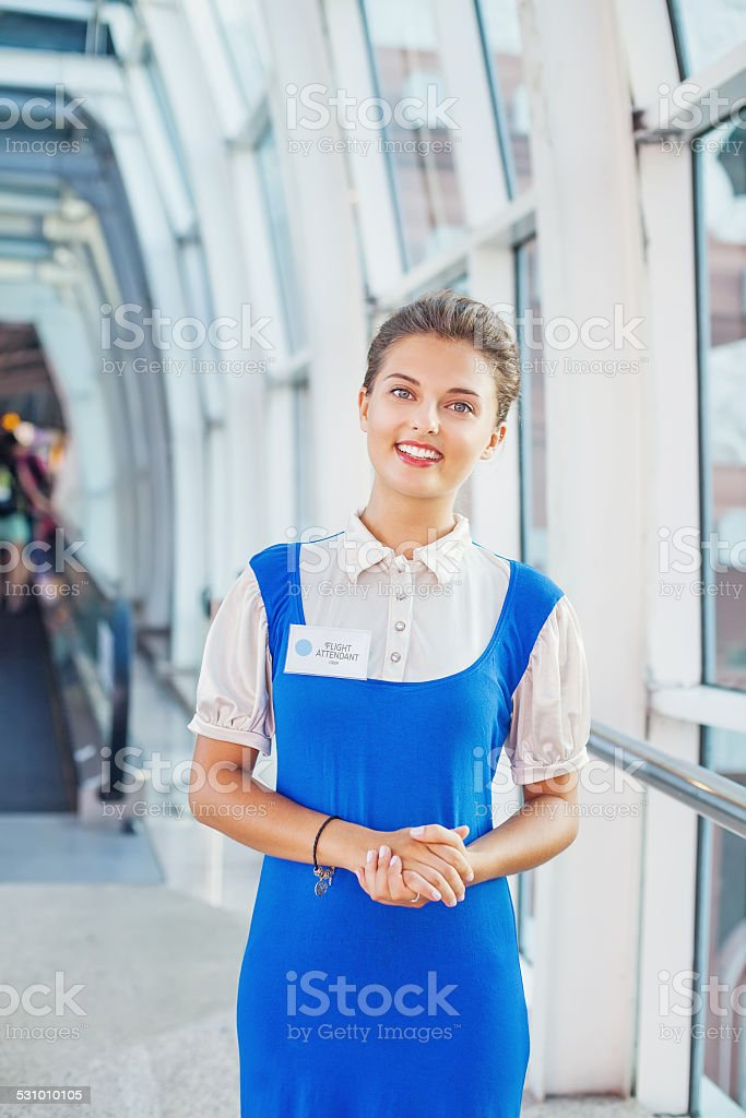 Beautiful young flight attendant in the airport. stock photo