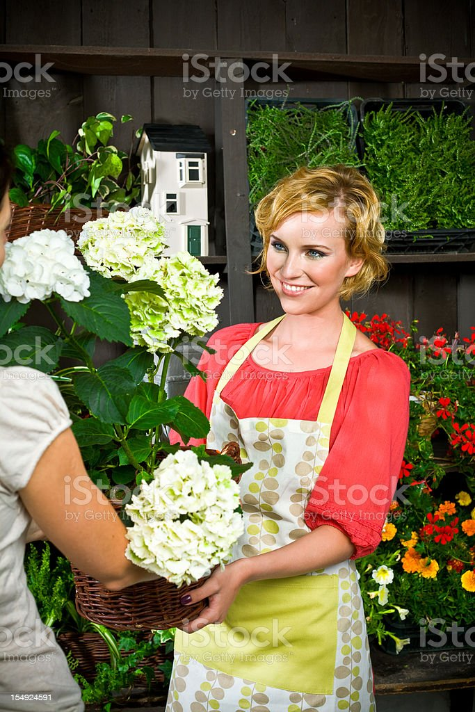 Beautiful young florist selling plants royalty-free stock photo