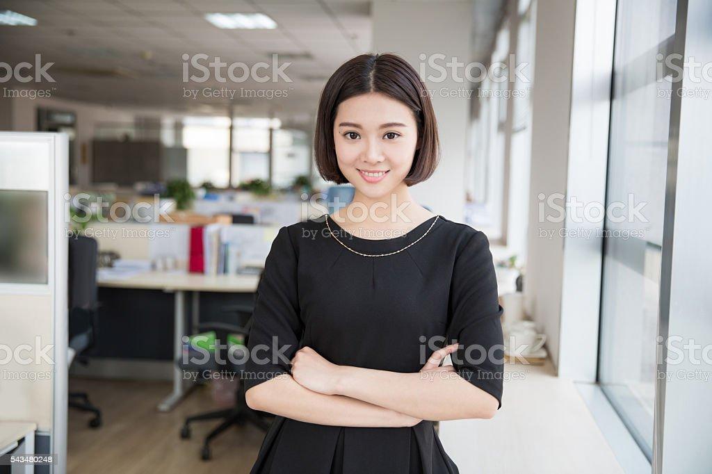 beautiful young girl chairman stock photo