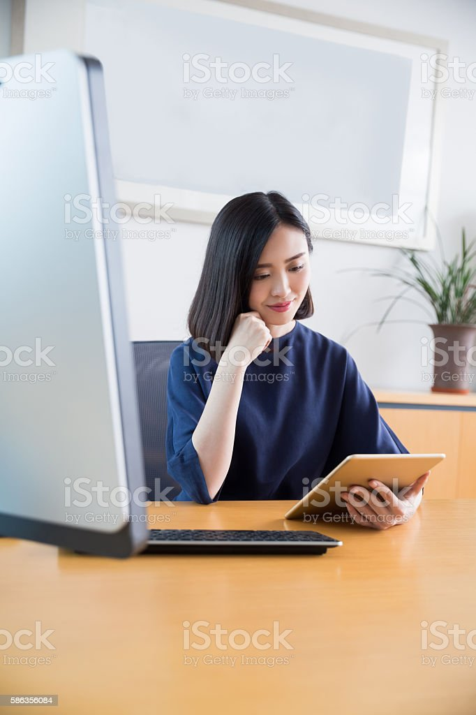 beautiful young girl chairman stock photo