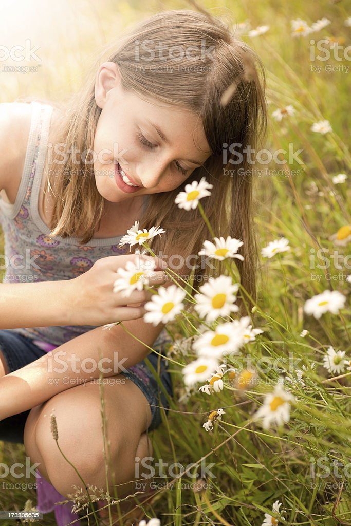 Beautiful Young Girl Enjoying Daisy Flowers stock photo