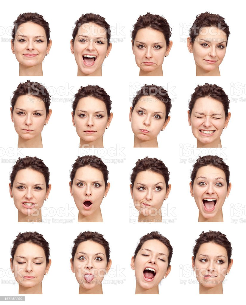 beautiful young girl face expressions isolated on white stock photo
