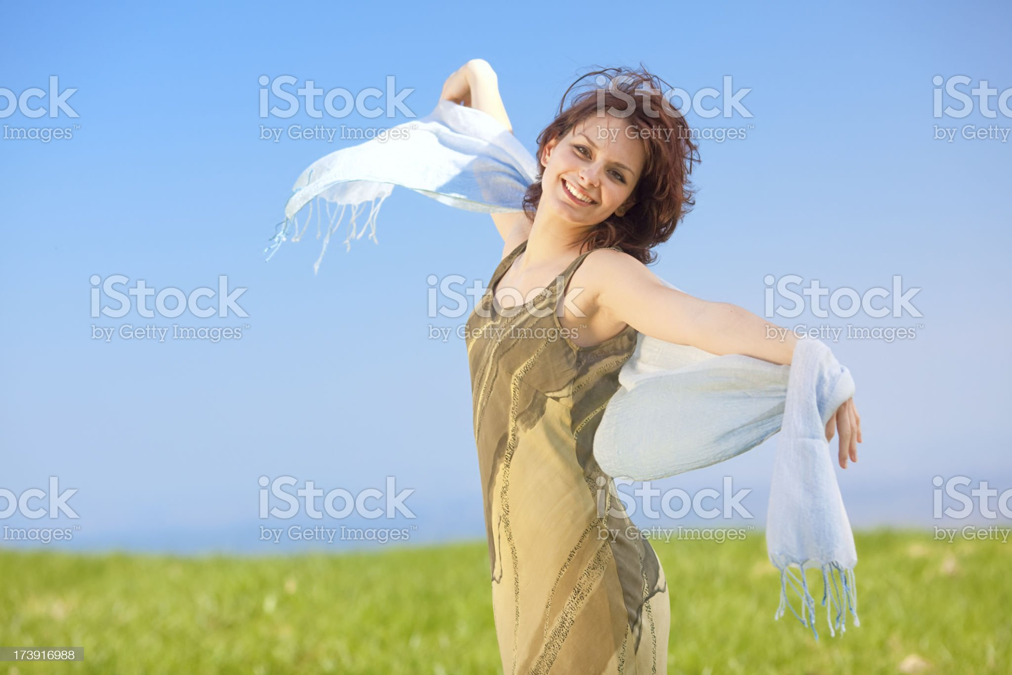 beautiful young girl freedom smile in sunny day outdoor royalty-free stock photo