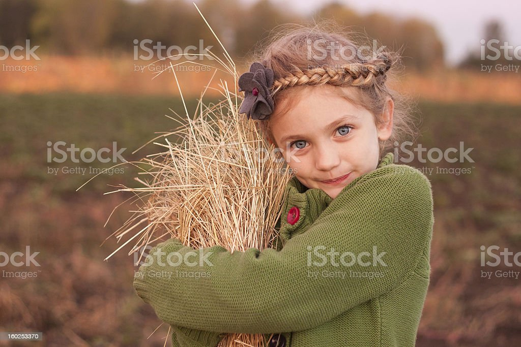 Beautiful Young Girl Gathering Hay for Harvest royalty-free stock photo