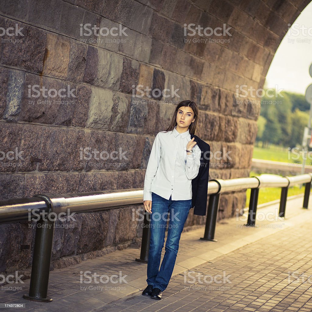 beautiful young girl hipster standing royalty-free stock photo