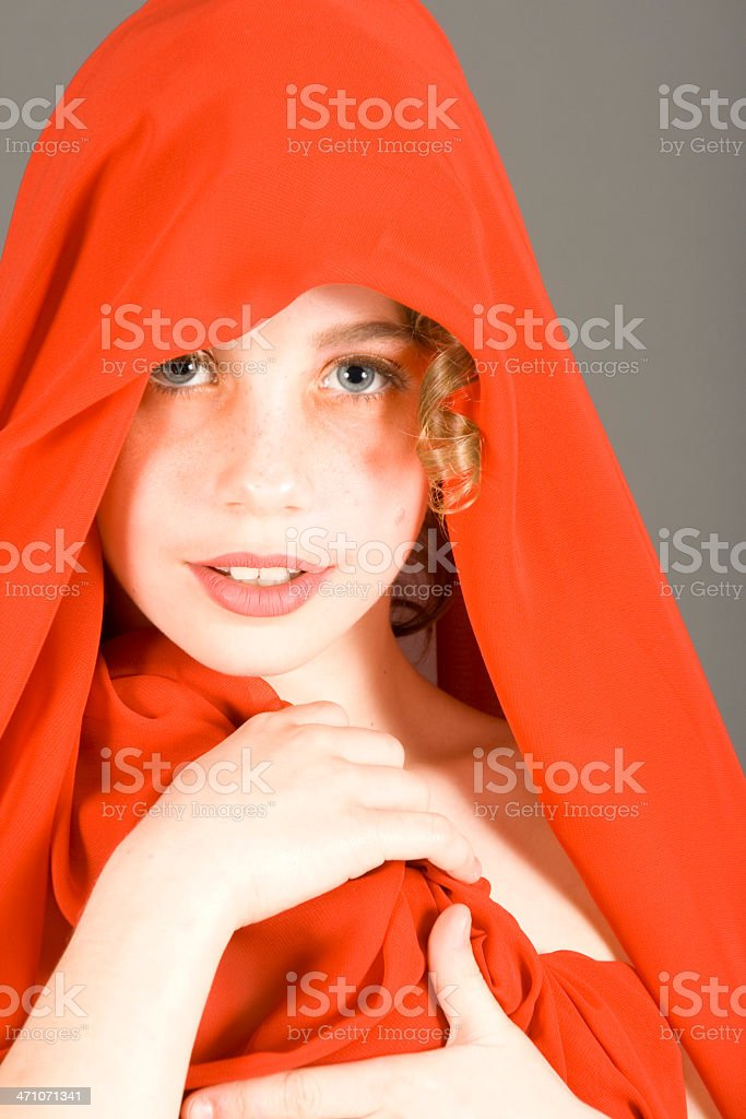 Beautiful young girl in a Red Hood royalty-free stock photo