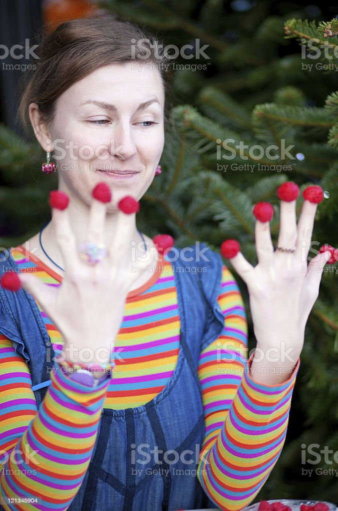 Beautiful young girl in bright clothes poses as Amelie stock photo