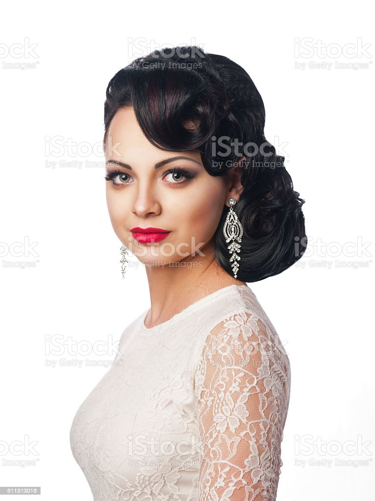 beautiful young girl in the image of the bride stock photo