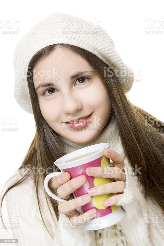 Beautiful young girl in winter outfit royalty-free stock photo