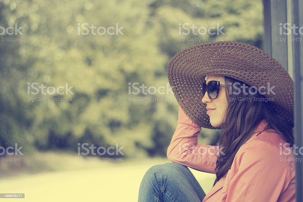 Beautiful young girl looking stock photo