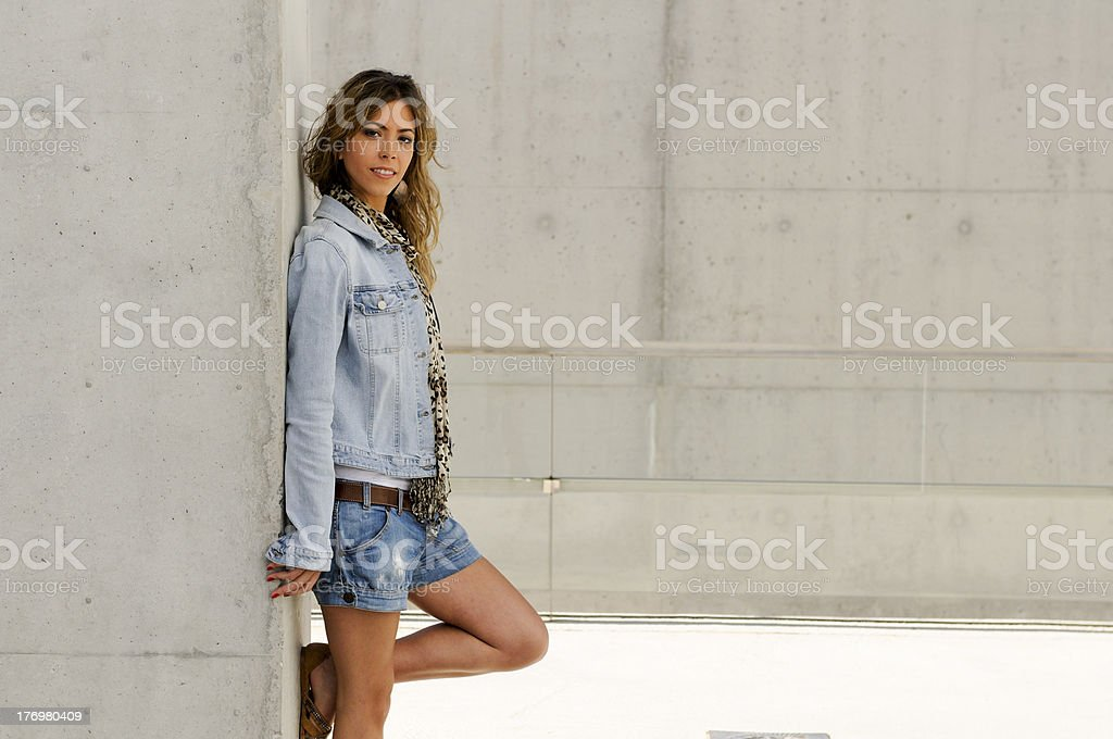 Beautiful young girl, model of fashion with casual clothes stock photo