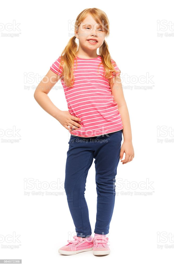 Beautiful young girl posing in front of camera stock photo