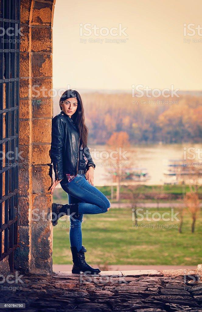 Beautiful Young Girl Posing Outdoor stock photo