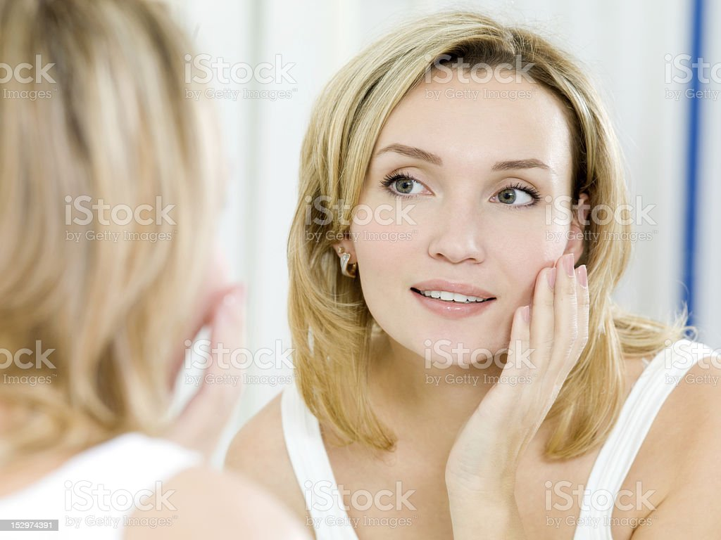 beautiful young girl with a clean fresh skin stock photo