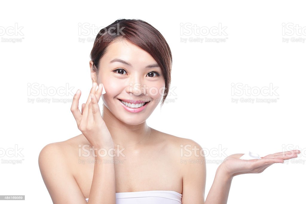 beautiful young girl with clean skin on pretty face stock photo