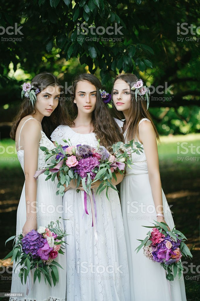 Beautiful young girls stock photo