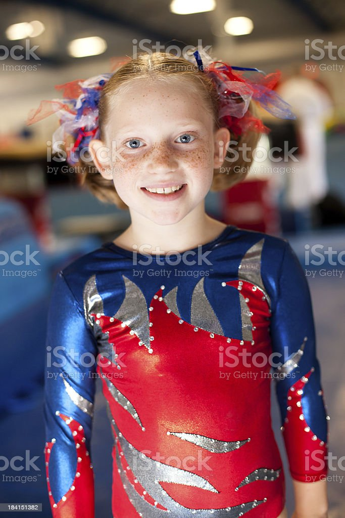 Beautiful Young Gymnast Smiling While in Leotard stock photo