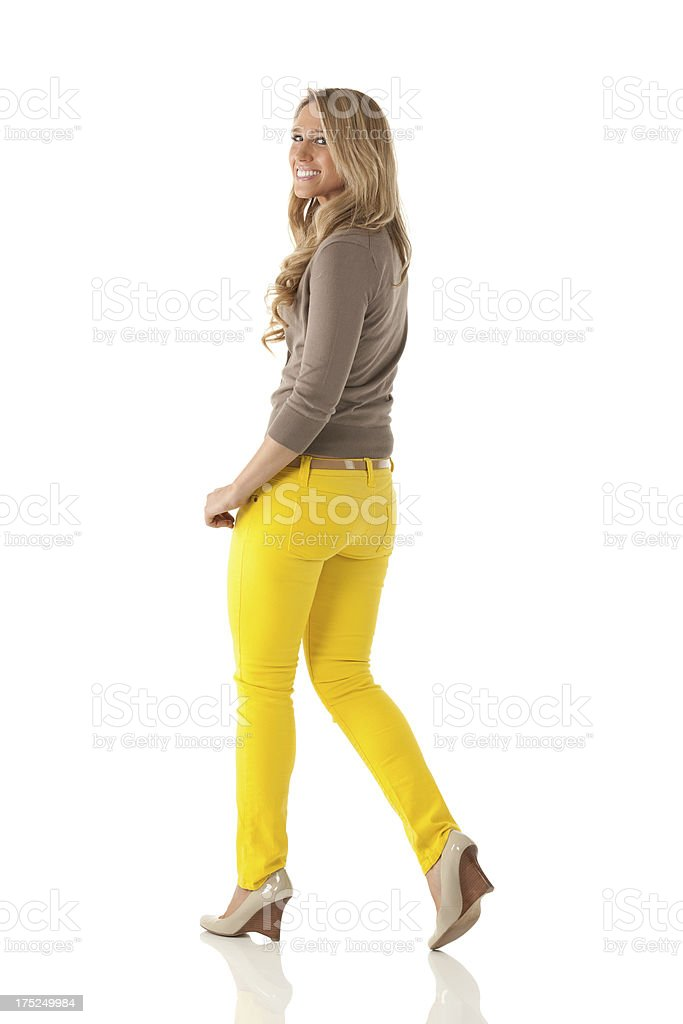 Beautiful young happy woman walking royalty-free stock photo