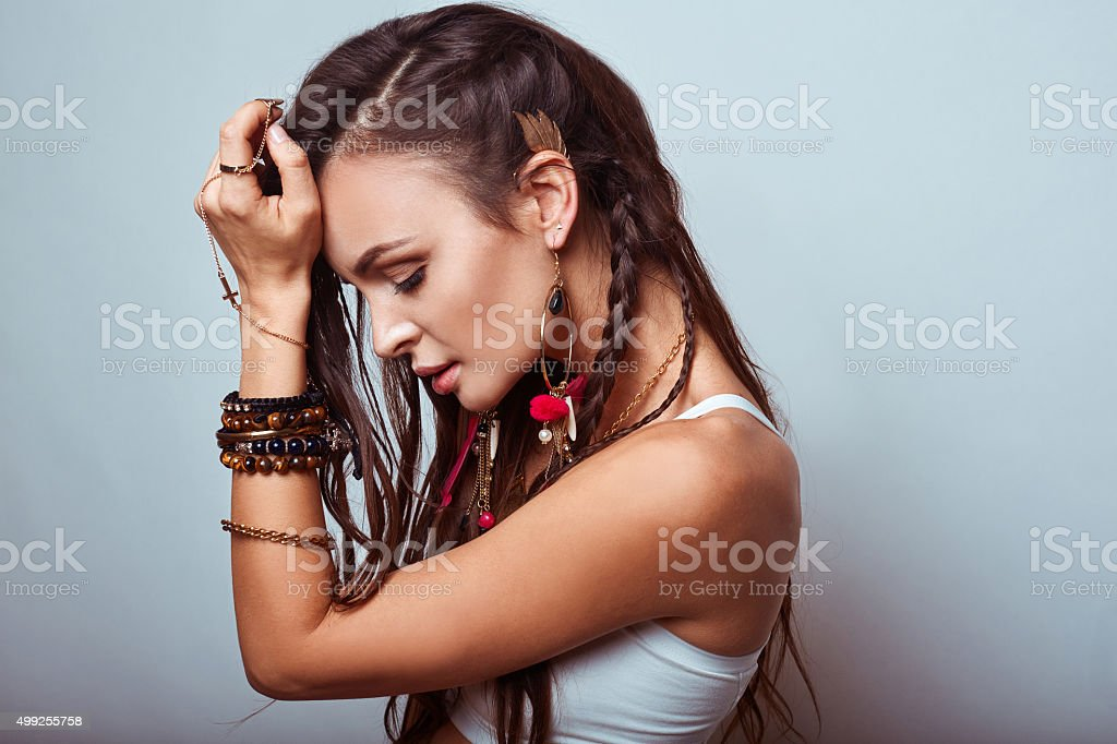 Beautiful young hippie woman stock photo