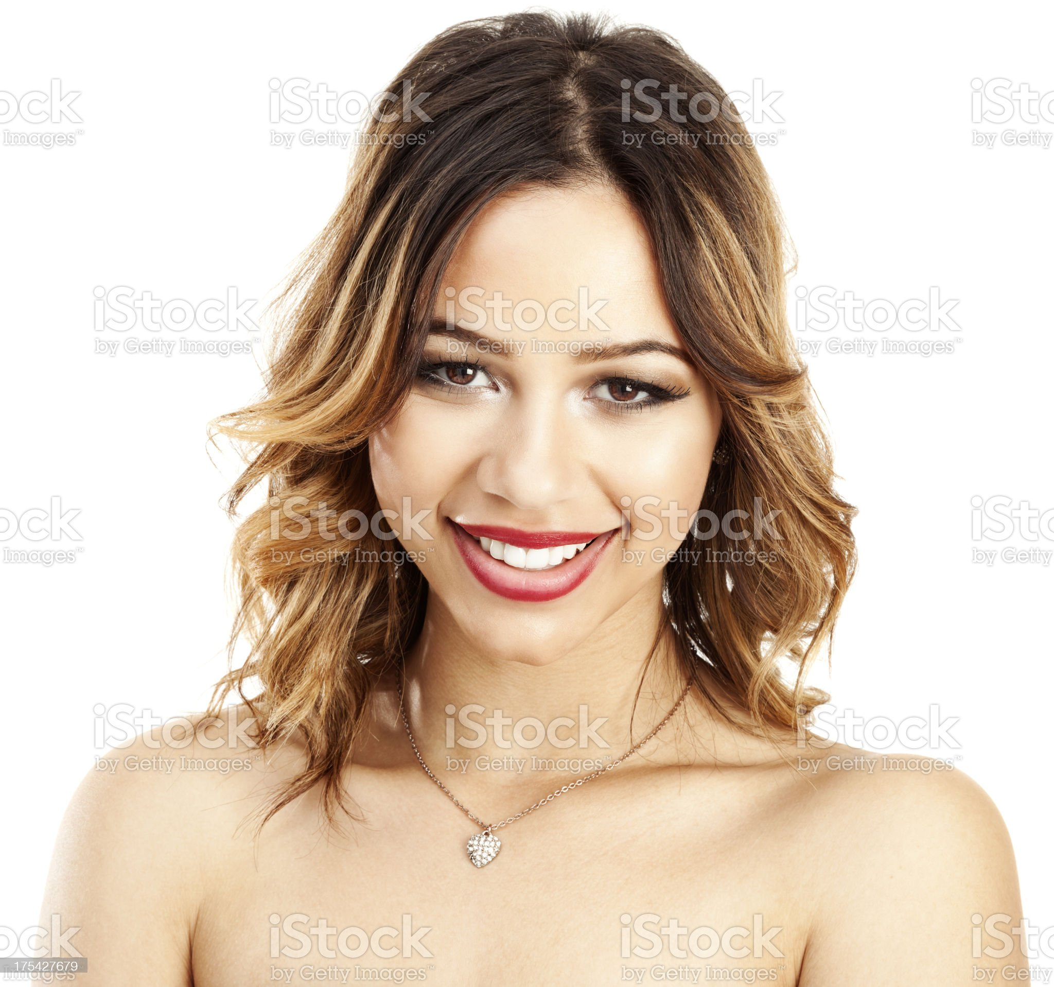 Beautiful Young Hispanic Woman on White royalty-free stock photo