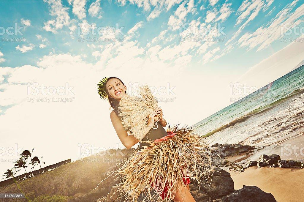 Beautiful Young Hula Dancer stock photo