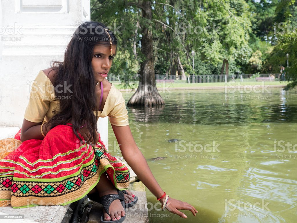 Beautiful young indian woman with nice eyes stock photo