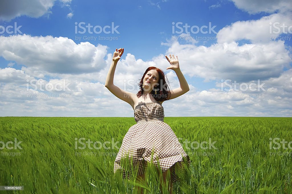 Beautiful young irl at green field royalty-free stock photo