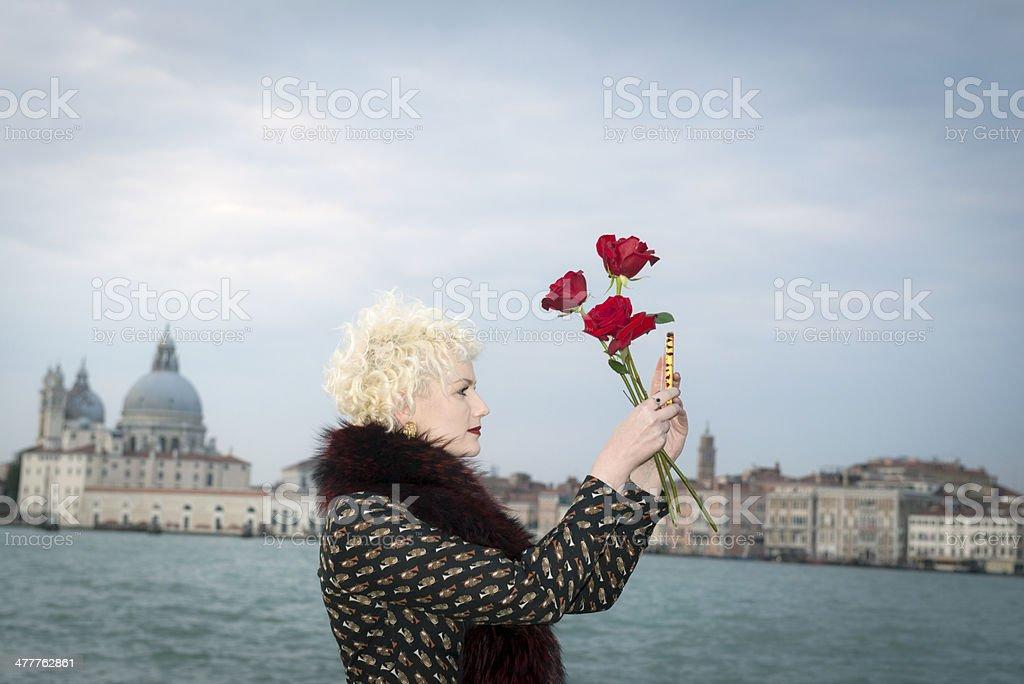 Beautiful Young Lady at San Giorgio, Venice, Italy royalty-free stock photo