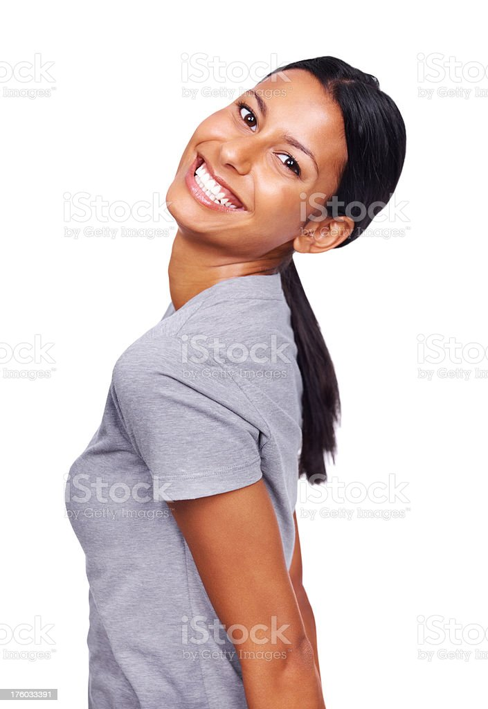 Beautiful young lady laughing against white stock photo