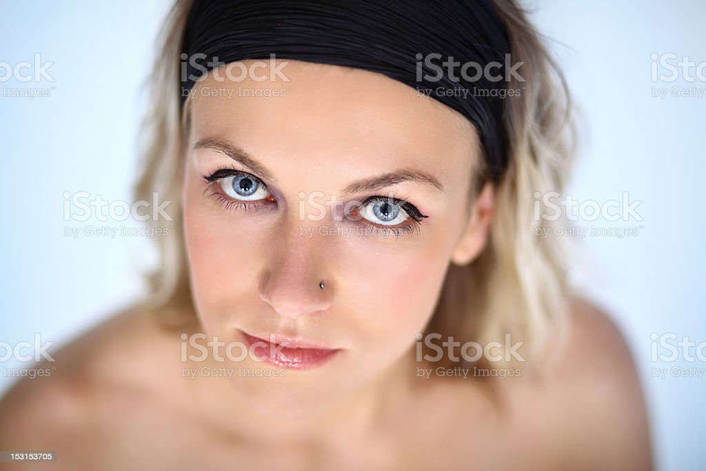 beautiful  young lady looking stock photo
