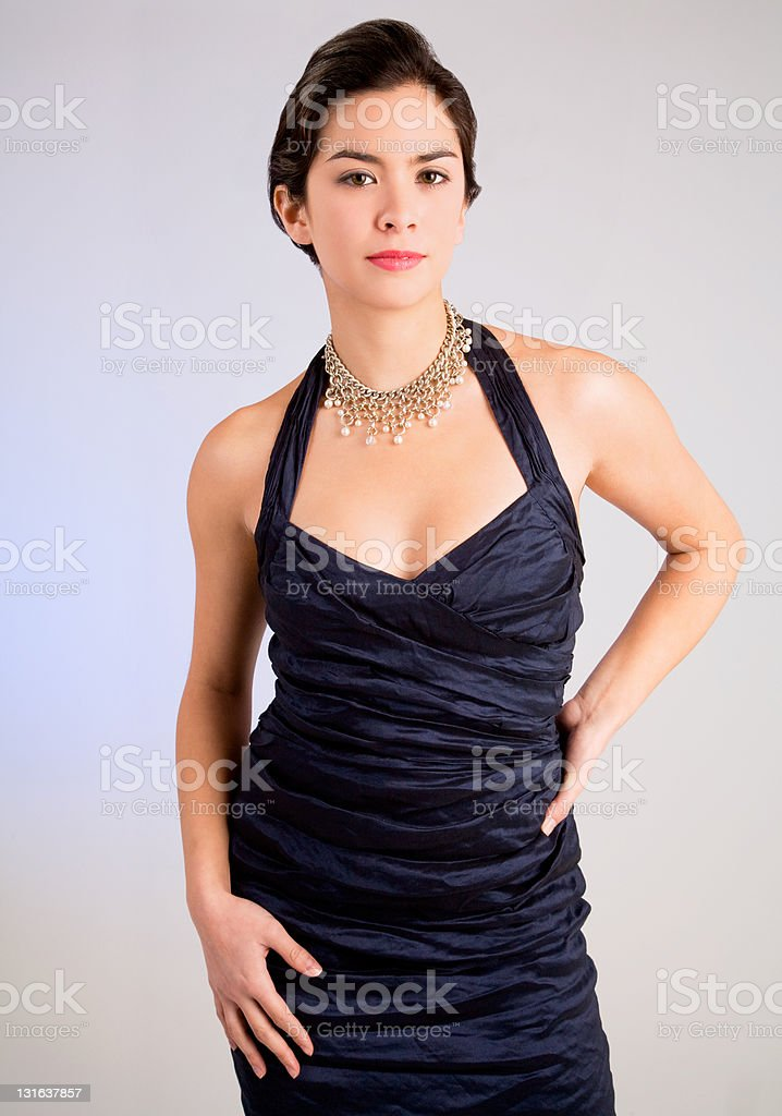 Beautiful Young Lady of Asian Descent in an Evening Gown royalty-free stock photo
