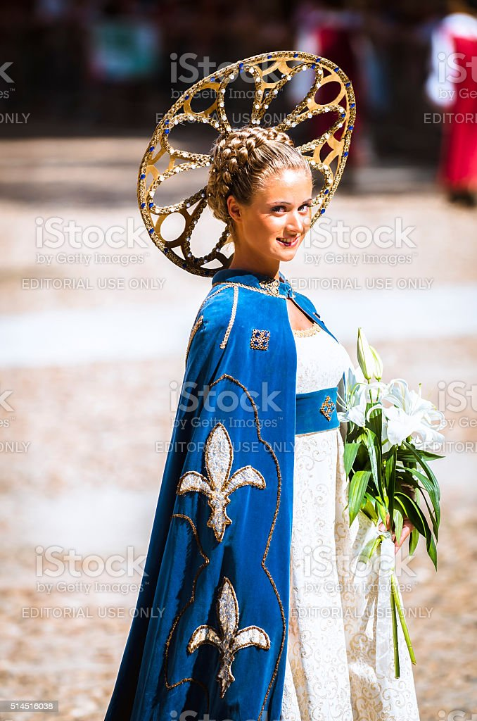 beautiful young lady of the Middle Ages stock photo