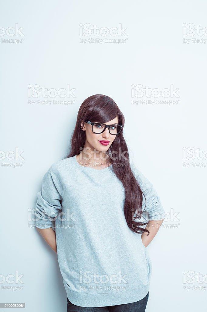 Beautiful young long hair woman stock photo
