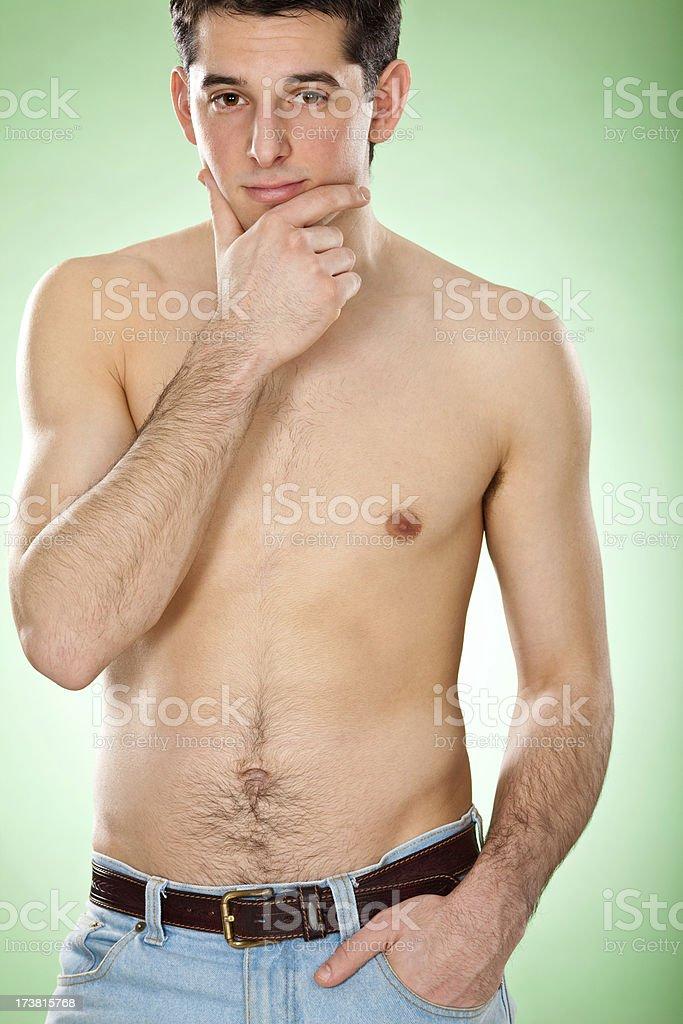 beautiful young man body portrait stock photo