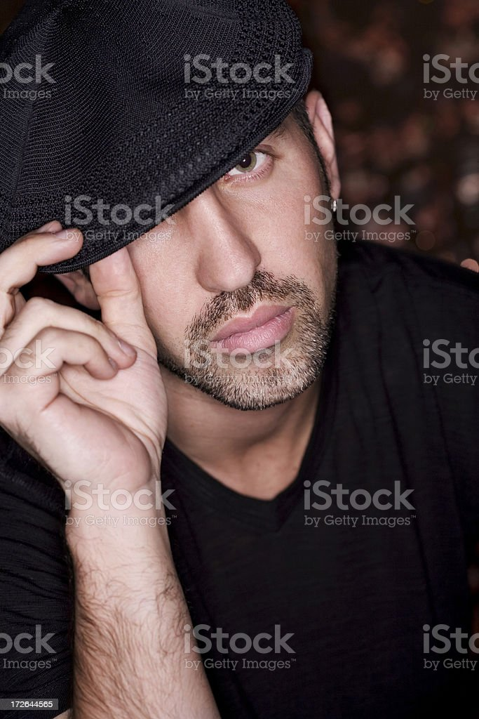 Beautiful Young Man Fashion Model Portrait in Hat, Copy Space royalty-free stock photo