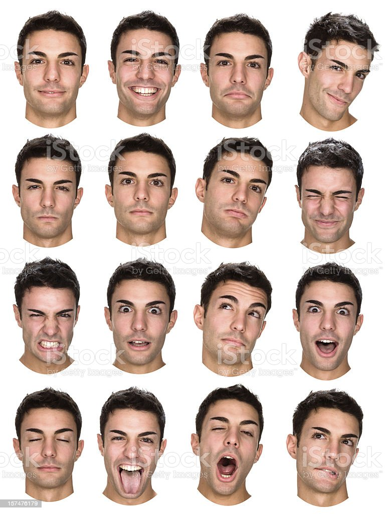 beautiful young man isolated collection of expressions stock photo