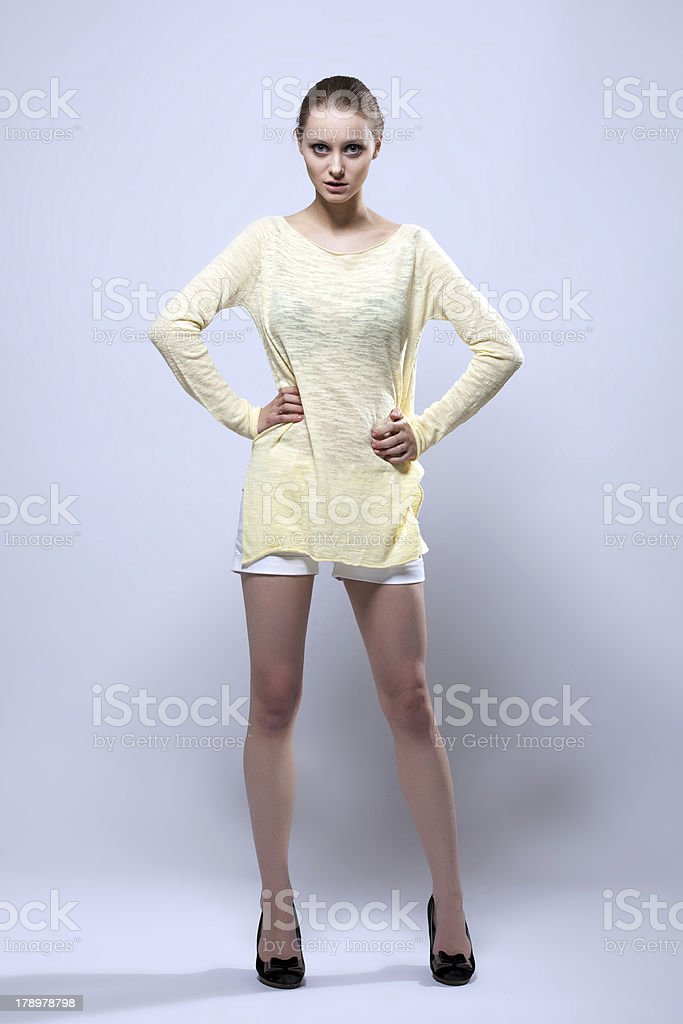 Beautiful young model demonstrates casual clothes royalty-free stock photo