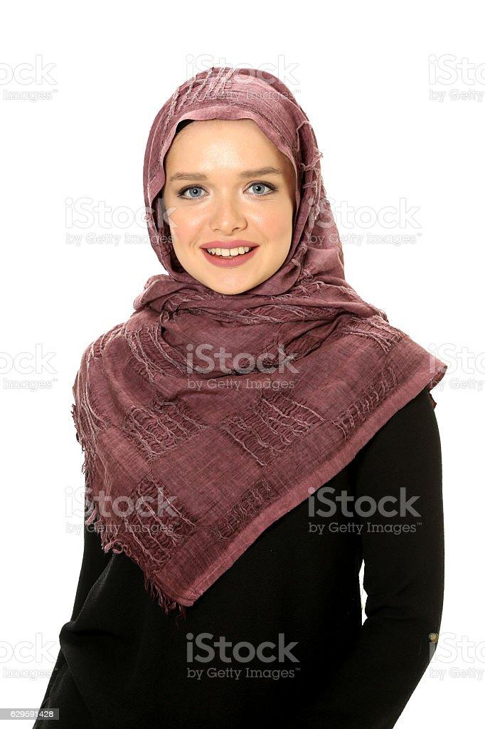 beautiful young muslim women wear scarf stock photo