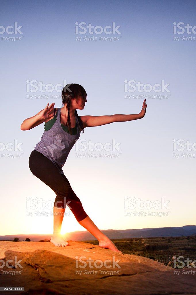 Beautiful, Young Native American Woman Enjoying Yoga stock photo