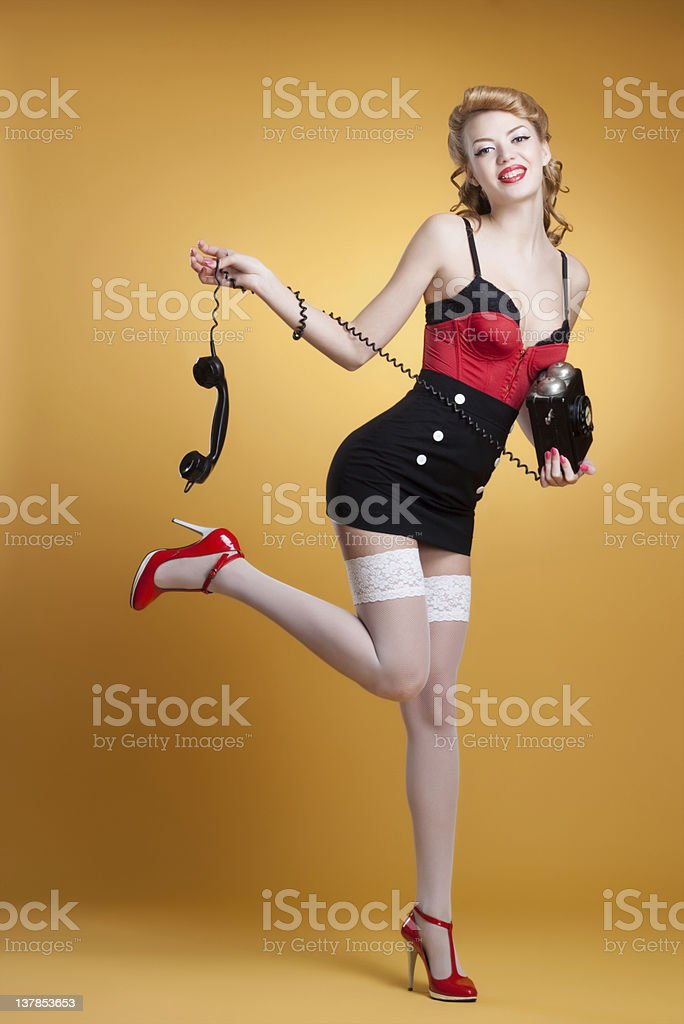 beautiful young pin-up girl royalty-free stock photo