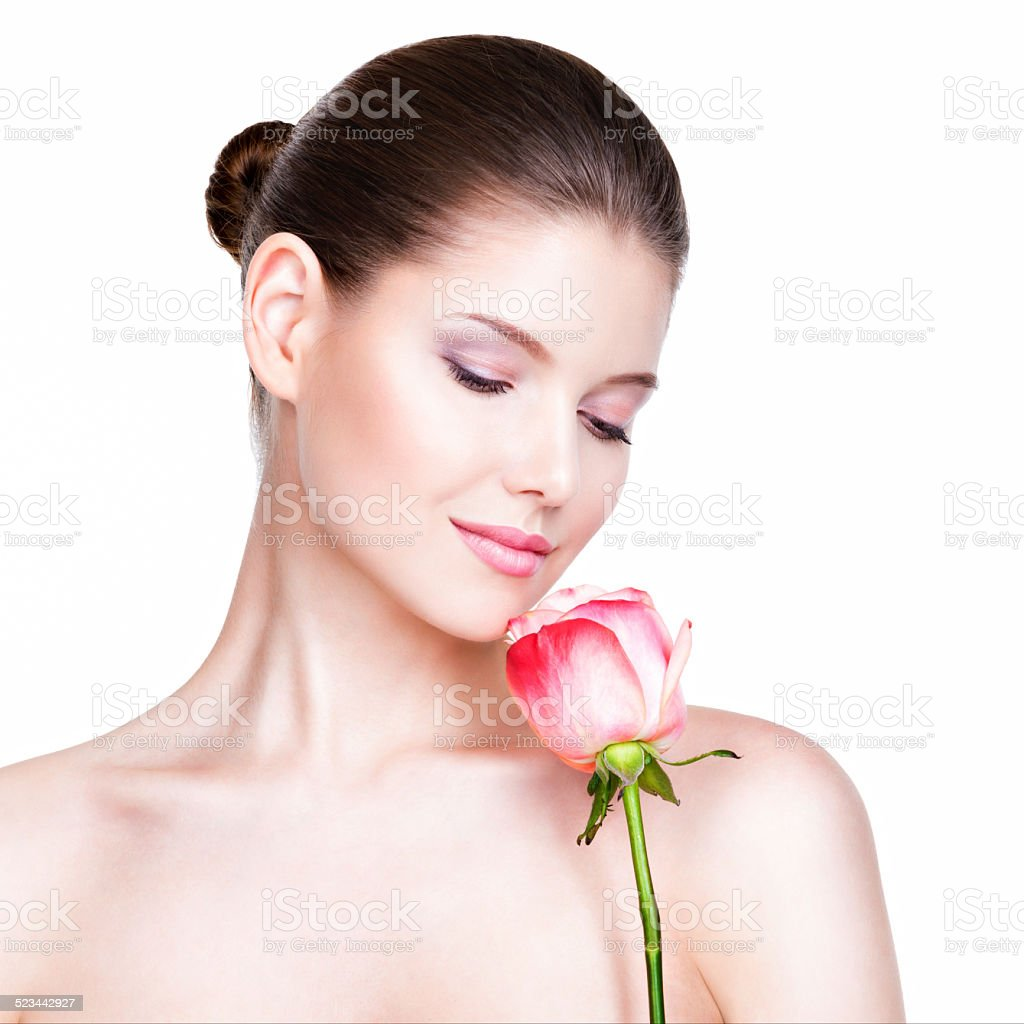 Beautiful young pretty woman with healthy skin. stock photo