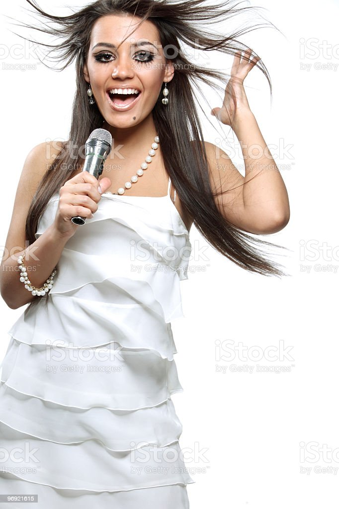 beautiful young singer stock photo