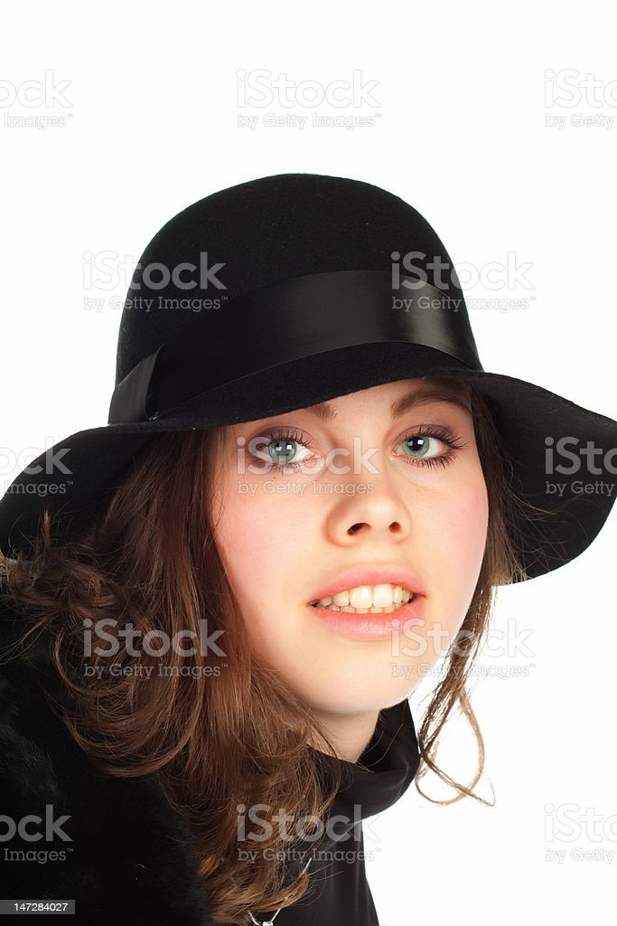 Beautiful young smiling woman with black hat royalty-free stock photo